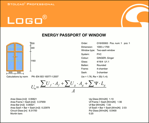 Printout of the energy passport